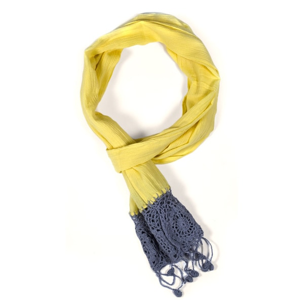 Yellow Dyed Crochet Scarf (India)