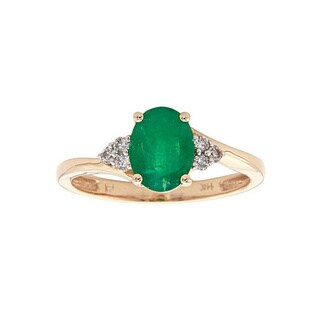 Anika and August 14k Yellow Gold Oval-cut Emerald 1/8ct TDW Diamond Ring (G-H, I1-I2)(Size 7)