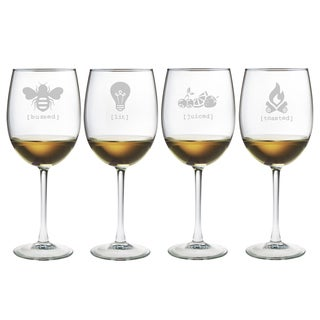 Tipsy Wine Glasses (Set of 4)