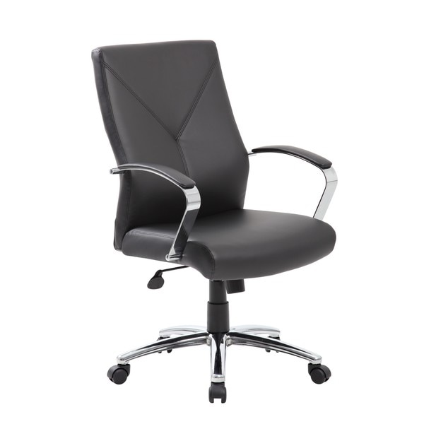 Boss LeatherPlus Executive Chair, Black with Chrome Finish
