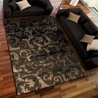 Galaxy Collection Swirl Central Multi Area Rug (5'3 x 7'6)