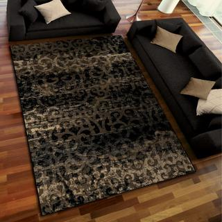 Galaxy Collection Blissful Knight Black Area Rug (5'3 x 7'6)