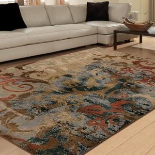 Vivacious Collection Scroll Mayhem Multi Area Rug (5'3 x 7'6)