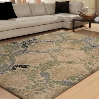 Vivacious Collection Soft Links Green Area Rug (7'10 x 10'10)