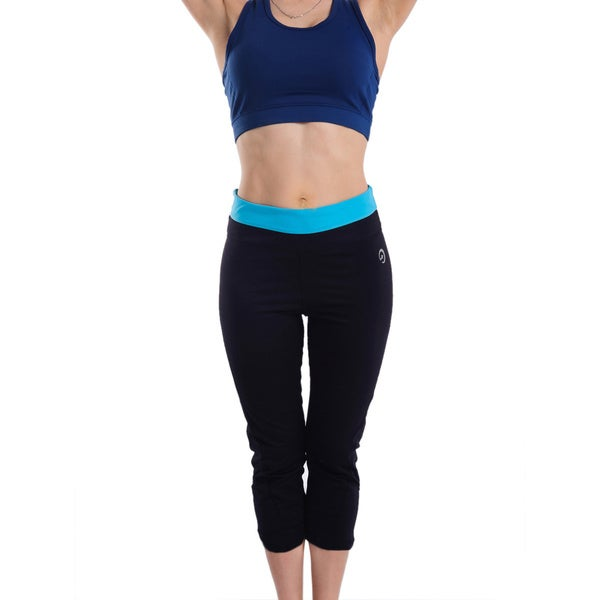 Women's Body Motion Gear Blue Waist Capri