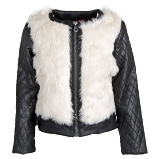Catherine Malandrino Girls' Fur Faux Leather Quilted Sleeve Moto Jacket
