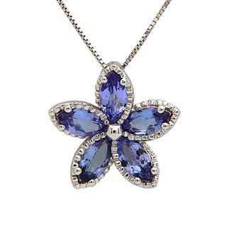 Anika and August Sterling Silver Marquise-Cut Tanzanite Pendant
