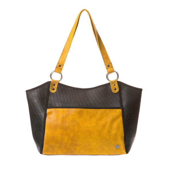 Urban TireTube and Black Textured Leather Large Purse (Colombia)