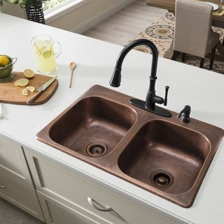 Best Price Kitchen Sinks : ... Solid Copper 33 in. 4-Hole Double Bowl Kitchen Sink in Antique Copper