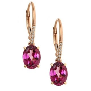 Anika and August 14k Rose Gold Rhodhlite and Diamond Accent Earrings