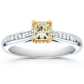 Annello 14k Two-Tone Gold 1/2ct TDW Princess-cut Fancy Yellow Diamond Engagement Ring (G-H, I1-I2)