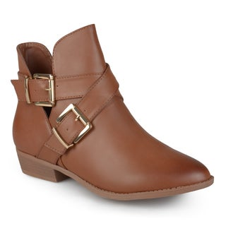 Journee Collection Women's 'Clover' Cut-out Buckle Booties