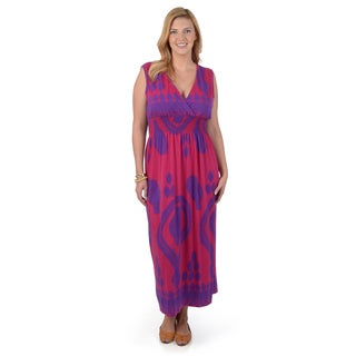 Timeless Comfort by Journee Women's Contemporary Plus Printed Maxi Dress