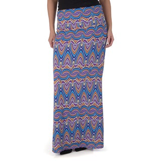 Timeless Comfort by Journee Women's Contemporary Plus Printed Maxi Skirt
