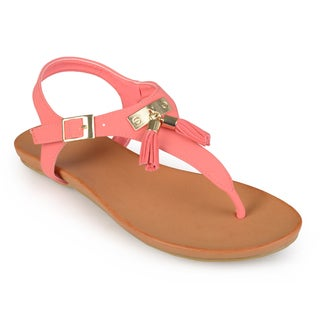 Journee Collection Women's 'Cherry' Tassled T-strap Sandals