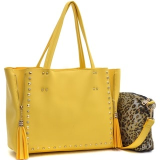 Dasein Faux Leather Studded 2-in-1 Tote Bag with Tassels