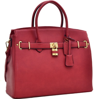 Dasein Faux Leather Satchel with Gold-Tone Accents