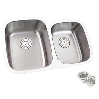 32-inch Offset Double 60/40 Bowl Undermount Stainless Steel Kitchen Sink Basket Strainer