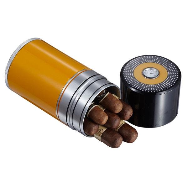 Visol Big Joe Black and Yellow 7 Cigar Travel/Desk Humidor 15301549