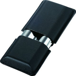 Visol Metz Black Leather and Steel Cigar Case (Two cigars)
