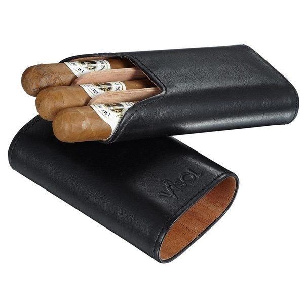 Visol Cuero Genuine Black Leather 3-Finger Cigar Case