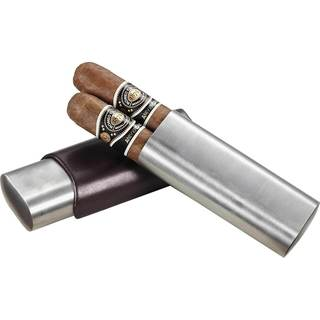 Visol Dave Dark Brown Leather and Stainless Steel (Two cigars)