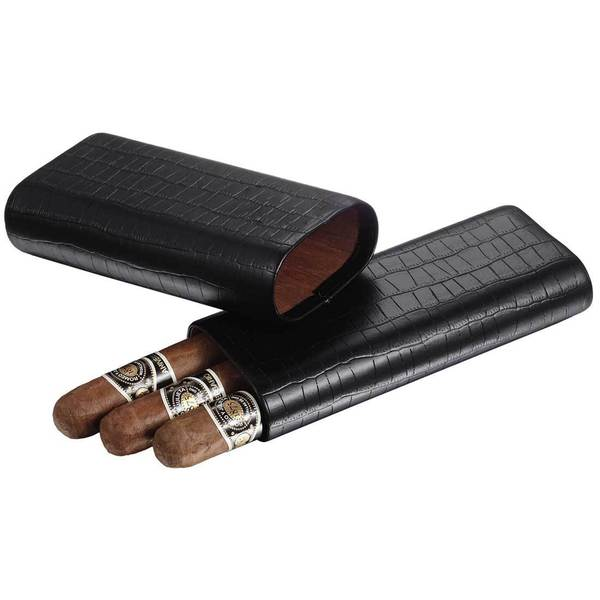 Visol Draco Black Crocodile Finish Cigar Case