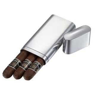 Visol Livorno Polished Stainless Steel 3-finger Cigar Case