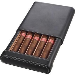 Visol Rennes Black Leather Cigar Case - Holds 5 Cigars