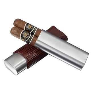 Visol Salerno Brown Leather 2-finger Cigar Case
