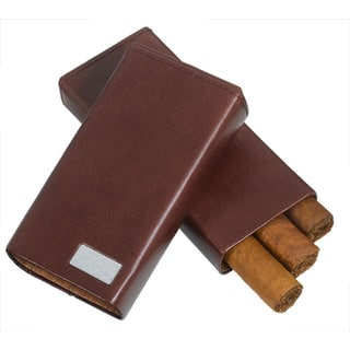 Visol Siena Brown Leather Crushproof Cigar Case (Three cigars)