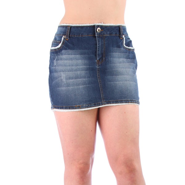 Plus Size Branded Medium Wash Denim Skirt w/ Lace Trimming