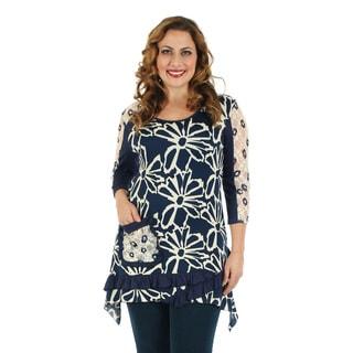 Firmiana Women's Plus Size 3/4 Sleeve Blue/ White Floral Pattern Ruffle Top