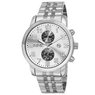 August Steiner Men's Swiss Quartz Multifunction Dual-Time Stainless Steel Silver-Tone Bracelet Watch