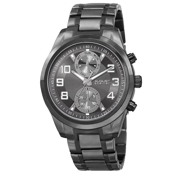 August Steiner Men's Quartz Multifunction Stainless Steel Black Bracelet Watch 15301676