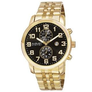 August Steiner Men's Swiss Quartz Multifunction Dual-Time Stainless Steel Bracelet Watch