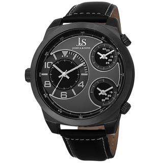 Joshua & Sons Men's Quartz Triple Time-Zone Leather Black Strap Watch