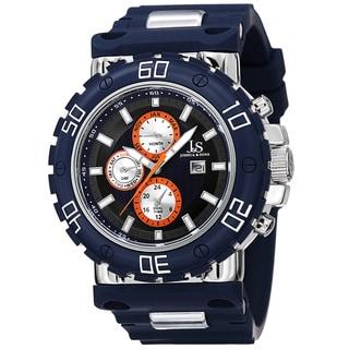 Joshua & Sons Men's Swiss Quartz Multifunction Dual-Time Silicone Strap Watch