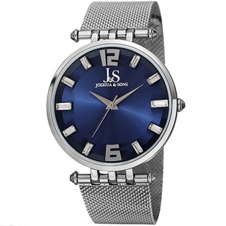 Joshua & Sons Men's Swiss Quartz Crystal-Accented Stainless Steel Mesh Strap Watch