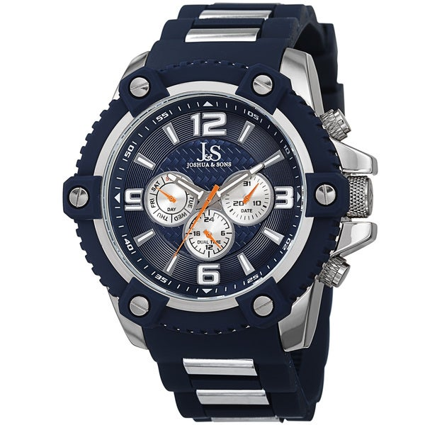 Joshua & Sons Men's Swiss Quartz Multifunction Dual-Time Sunray Dial Blue Strap Watch 15301720