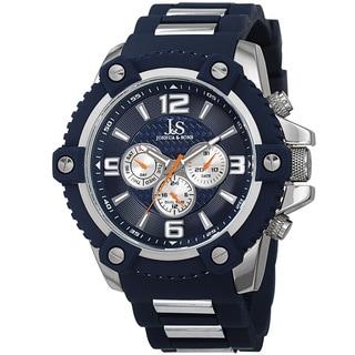 Joshua & Sons Men's Swiss Quartz Multifunction Dual-Time Sunray Dial Silicone Strap Watch