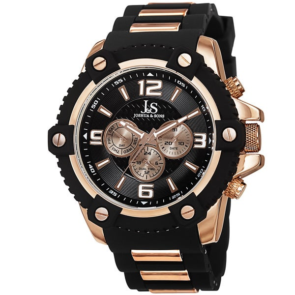 Joshua & Sons Men's Swiss Quartz Multifunction Dual-Time Sunray Dial Rose-Tone Strap Watch 15301722
