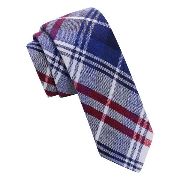 Skinny Tie Madness Blue Plaid Skinny Tie