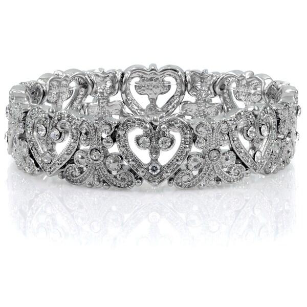 Silvertone Rhinestone Heart Stretch Vintage Bracelet
