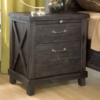 Industrial Solid Wood Nightstand in Cafe
