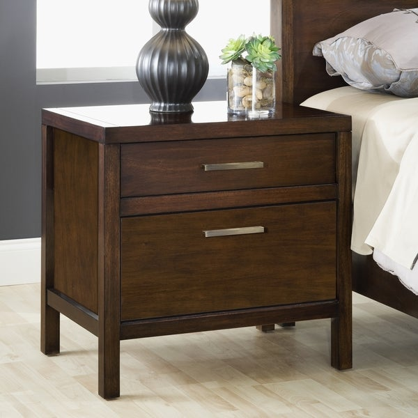 Modern two drawer charging station nightstand 17241045 overstock