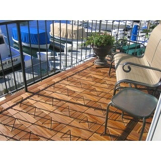 EcoDeck Outdoor Wood Flooring 'Diamantine' 12 x 12, 10 sq ft Ipe Decking Tiles (Pack of 10)