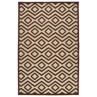 Indoor/ Outdoor Luka Terracotta Diamond Rug (7'10 x 10'8)