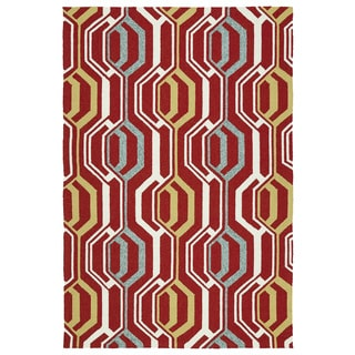 Indoor/ Outdoor Handmade Getaway Red 3D Rug (9'0 x 12'0)