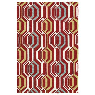 Indoor/ Outdoor Handmade Getaway Red 3D Rug (8'0 x 10'0)